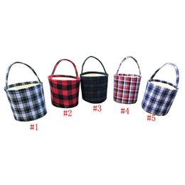 2019 balde bonito bolsas Plaid Páscoa Barrel cestas de algodão bonito bolsa de lona Páscoa Bucket Bolsas DIY armazenamento 5 cores caçoa o presente balde bonito bolsas barato