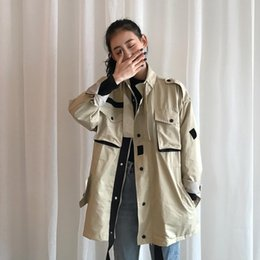 Kurze kittelstile online-Oversize Frock Style Tooling Short Coat Women 2019 Long Sleeves Basic Female Jacket High Quality Outdoor Women's Autumn Jacket