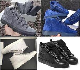 Pattini piani per le donne online-Gli uomini Classic Classic Leather Women Arena Appartamenti di marca Sneakers uomo High Top scarpe uomo Moda Casual Lace Up Shoes Big Size 36-47