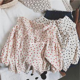blusa de malha de manga comprida Desconto Ins Meninas Crianças camisa de Manga comprida grande babados gola blusa camisa Polka Dots camisas criança bebê legal casual