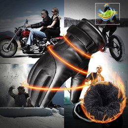 Guantes de cuero para hombres y mujeres Winter Ride Plus Velvet Padded Warm Student Riding Motorcycle Gloves Touch Screen desde fabricantes