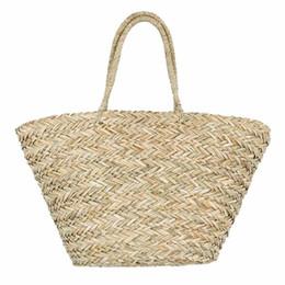bolso de paja de playa con cordón Rebajas Nueva Bohemia Bolsa de Playa Mujeres hecho a mano bolsos de la paja hierba del verano bolsos de lazo cesta de totalizadores del bolso del totalizador del recorrido de gran tamaño