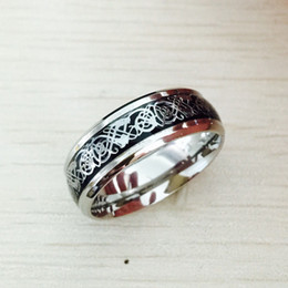 anel de aço inoxidável 316l dragão Desconto Vintage prata Frete Grátis Dragão anel de aço inoxidável 316L Mens Jóias para Homens senhor Wedding Band anel masculino para amantes
