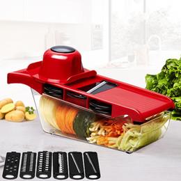 Reibe set online-Mandolinenschneider Gemüseschneider mit Edelstahlklinge Manueller Kartoffelschäler Karottenkäse Reibe Dicer Küchenwerkzeug