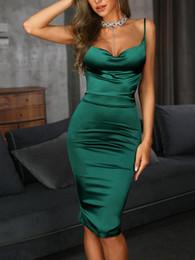 Abito midi sexy in raso elasticizzato Donna Cinturini sexy Abito aderente aderente aderente Vestito da night club verde Abiti da sera cheap midi bodycon dress green da midi bodycon vestito verde fornitori