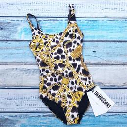 2019 disegni bikini donne Lussuoso design del marchio Moschinos stampa catena costume da bagno intero Bikini sexy Set donna Lady Girl Beach Costume da bagno Backless Swimswear disegni bikini donne economici