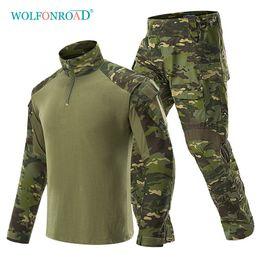 2019 kleidung zum schießen WOLFONROAD Camouflage Tactical T-shirts Männer Armee Kampf Uniformen Außenaufnahmen Jagd Kleidung Sets Paintball 3XL günstig kleidung zum schießen