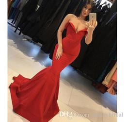 beste lange einfache kleider Rabatt 2019 Best Selling Red Mermaid Lange Abendkleider Schatz Gericht Zug Einfache Prom Abendkleider Elegant
