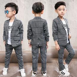 Ternos elegantes do menino on-line-Crianças roupas menino clássico xadrez terno single-breasted terno novo grande menino primavera / outono de duas peças casuais elegante de duas peças