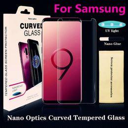 iphone hochwertiges kameraobjektiv Rabatt UV NANO Optics Liquid Full Cover Kleber 3D gekrümmte gehärtetes Glas-Displayschutzfolie für Samsung Galaxy Note9 S9 S9 Plus