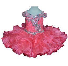 Vestido organza sequin rhinestone pageant on-line-Frisado Little Baby's Pageant Cupcake Vestidos Custom Made Curto Ruffled Lantejoulas Infantis Vestidos de Festa Strass Criança Pai Daughter Dança