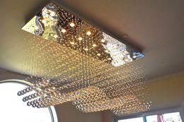 2019 plafonniers led plafonniers Luxe Rectangle Lustre en cristal d'éclairage Raindrop affleurant au plafond Luminaire pour Salle à manger Hôtel Hall promotion plafonniers led plafonniers