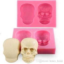 moldes de crânio de silicone Desconto 3d Silicone Crânio Fondant Bolo Moldes Crânio Forma Decor Embosser Para DIY Ferramentas De Cozimento Do Molde