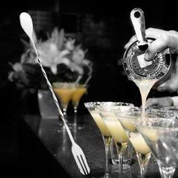 verdrehte kaffeelöffel Rabatt Kaffeelöffel Edelstahl Bar Doppelkopf Cocktail Twisted Mischen Rührlöffel Für Küche Bar Restaurant L0422