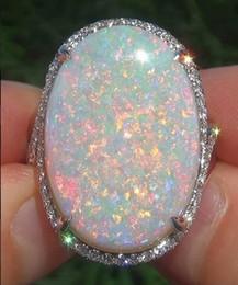 Büyük 925 Katı Gümüş Doğal Taş Yangın Opal Pırlanta Yüzük Düğün Nişan Kadınlar Moda Takı nereden süs takımı tedarikçiler