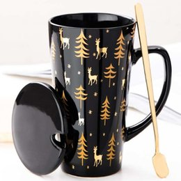 Office Ceramic Japanese Mug, High Grade Coffee Cup with Lid Spoon, Men's Simple Gift Cup