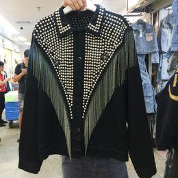 Lunga giacca di denim nera online-[EWQ] Diamanti Motor Tempesta a manica lunga con borchie Giacca nappa Inoltre Sizer denim coreano manica lunga Black Ladies cappotti QL148