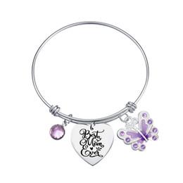 shamballa liebe armband Rabatt Mutter Zitat Charm Armband mit Schmetterling Diamantperlen Muttertagsgeschenk erweiterbar Edelstahl Armreif Schmuck beste Mutter überhaupt