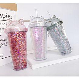 Kedi Kulak Yanıp Sönen Çift Fincan çocuk bebek karikatür sevimli su bardağı yaratıcı pullu plastik saman suyu bardağı Cam şişe T2I5150 nereden