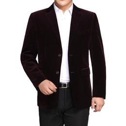 Cappotto di lana blu navy online-WAEOLSA Blazer in velluto a righe da uomo Completo in tinta unita Cappotti Man Blazer in lana Hombre Suit in velluto a coste Giacche da uomo Rosso Blu scuro