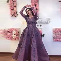 ankle length taffeta evening dress Coupons - Saudi Arabic Purple 3D Flower Evening Dresses With Full Sleeves Lace Floral Prom Gowns Ankle Length Party Dress Vestidos