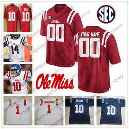 Argentina Custom Ole Miss Rebels Fútbol Cualquier nombre Número Red Blue White Manning Kelly # 10 Ta'amu Taamu 1 AJ Brown 22 Scottie Phillips Jersey cheap miss kelly Suministro