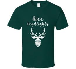 Cervo bonito on-line-Nice faróis chifres de veado natal verde rena t shirt das mulheres dos homens unisex moda tshirt frete grátis