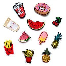 etiqueta de comida personalizada Rebajas 100 PCS parches para helados Hierro bordado en parches para ropa Bricolaje Rayas Ropa Comida Pegatinas de frutas Hamburguesas personalizadas @J