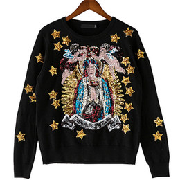 Вышитая блестка онлайн-Spring Autumn  Sweater Outwear Coat Angels Stars Goddess Exquisite Sequins Embroidered Women Knitting Pullovers Sweaters