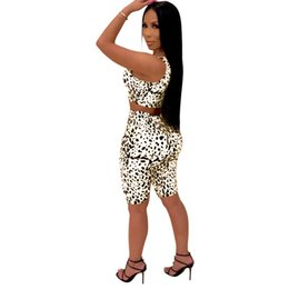 leopard print yoga pants Coupons - women 2 piece set tracksuit shirt pants outfits sleeveless shirt pants sweatsuit pullover tights sportswear sports suit hot klw