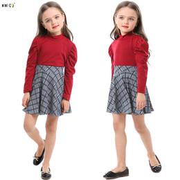 Falda de cuadros de niños niñas online-Niñas Dos piezas conjunto de ropa Tops Falda a cuadros de moda de manga larga otoño niño ropa niños traje para 3 4 5 6 7 8 años Y190518