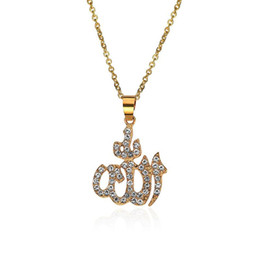 Collier d'or musulman en Ligne-Collier islamique en cristal collier musulman or arabe Dieu colliers pendentif bijoux de mode Will et Sandy Drop Ship