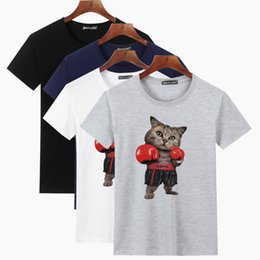 T shirt peinture pour hommes en Ligne-Mens Designer T-shirts De Base Impression De Quatre Couleurs De Boxe Chat Peint Dessin Animé Coton 100% Designer Nouveau Casual Men avec Connotation