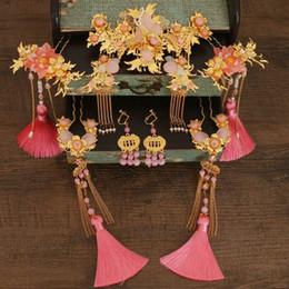 Çin Tarzı Gelin Headdress Saç Süsler Antik Kostüm Aksesuarları Püskül supplier bride headdress hair accessories nereden gelin kuaförü saç aksesuarları tedarikçiler