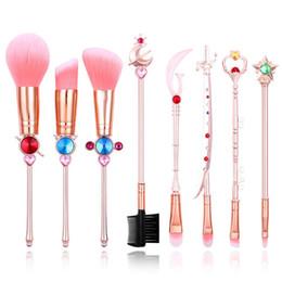 Strass Cristal Sailor Moon Blush Em Pó Escovas De Maquiagem Set Fundação Mistura Pó Sombra Cosméticos Maquiagem Kit de Ferramentas com Bolsa Rosa de