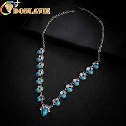 15cad8a1458 2019 collier bijoux fantaisie vert Mode Bleu Naturel Pierre Squash Blanc  Vert Fleur Collier Vintage Argent
