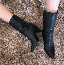 Bottes de neige en fausse fourrure noires en Ligne-Bottines en daim imitation daim bottes en cuir noires bottes en fourrure bottes de neige pour femmes chaussettes d'hiver chaussures pour femmes à talons hauts bottes de moto