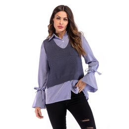 2221e55170 Women Fashion Casual Solid V Neck Sleeveless Knit Sweater Vest Autumn Winter  Knitting Casual Long Sleeve Solid Colors Sweater
