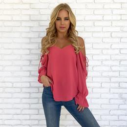 blusa rosa do ombro Desconto Mulheres fora do ombro blusa de chiffon manga comprida plissado blusas tops preto rosa azul cinza boho roupas mujer haut femme DYI0728