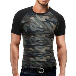 2019 nuove estensioni alla moda di estate Tshirt da uomo Homme girocollo in cotone traspirante Camouflage New Summer Style Casual Tops Camicia semplice alla moda nuove estensioni alla moda di estate economici