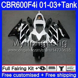 f4i carenagem preto branco Desconto Corpo + Tanque Para HONDA CBR 600F4i CBR600FS CBR600F4i 01 02 03 286HM.55 CBR600 F4i 600 FS CBR 600 F4i 2001 2002 2003 Preto Branco quente Carenagens