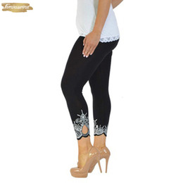 Plus größe legging grau online-Heiße gute Qualität Frauen-Gamaschen 5Xl beiläufige dünne Print-Knöchel-Länge Legging Unterhose Plus Size Leggings Schwarz Weiß Grau