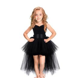0a03db64a Black Girls Tutu Dress Tulle V-neck Train Girl Evening Birthday Party  Dresses Kids Girl Ball Gown Dress Halloween Costume 2-8Y