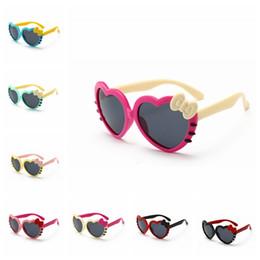 Marcos de anteojos para niños online-En forma de corazón Gafas de sol Niños Niños Gafas de sol de montura completa Bebé Bowknot Cat Eye Shades Gafas Gafas AAA2245
