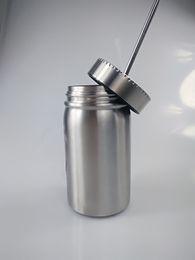 Puede beber tapa online-Tarro de masón de acero inoxidable de 17 oz Vaso de masón Vaso de 17 oz con tapa de paja Taza de jugo de cerveza de café Masón Latas bebiendo sippy