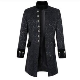 2019 casacos matutinos Mens gótico jaqueta de brocado fraque casaco steampunk vitoriano matinal casaco jaqueta inteligente preto branco mens wind disjuntor 2019 casacos matutinos barato