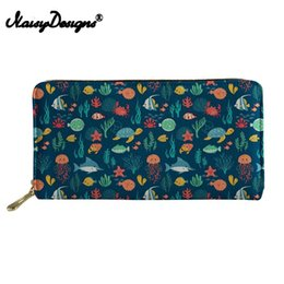 print checkbook Promo Codes - Noisydesigns 3D Cartoon Sea Turtle Printed Wallets Women Cluth Thin Party Bag Ladies Phone Money Pocket Zipper for Females Purse