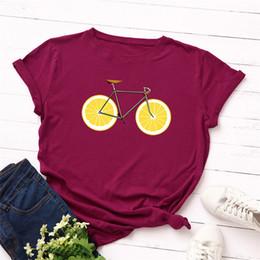 7d5fb314f Tallas grandes S-5XL Nueva Bicicleta Estampado de limones T Shirt Mujeres  100% Algodón O Cuello de manga corta Camiseta de verano Tops Casual  Bicicleta ...