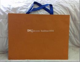 Sacos de embalagem laranja on-line-Venda Por Atacado novo empacotamento de papel saco de presente de compras cor laranja 43 centímetros