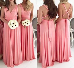 coral bridesmaid watermelon dresses Promo Codes - Maxi Watermelon Chiffon Bridesmaid Dresses Pleats V Neck Floor Length Maid Of Honor Forest Wedding Party Wear Cheap BM0229